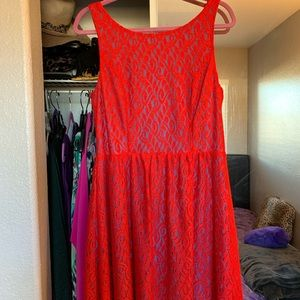 Hot red lace dress with blue lining